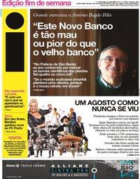capa Jornal i de 31 julho 2020