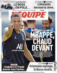 capa Jornal L'Équipe de 12 julho 2020