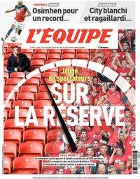 capa Jornal L'Équipe de 14 julho 2020