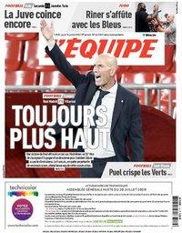 capa Jornal L'Équipe de 16 julho 2020