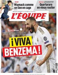 capa Jornal L'Équipe de 21 julho 2020
