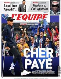 capa Jornal L'Équipe de 25 julho 2020