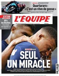 capa Jornal L'Équipe de 26 julho 2020