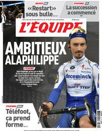 capa Jornal L'Équipe de 29 julho 2020