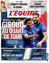 capa Jornal L'Équipe de 30 julho 2020