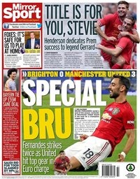 capa Jornal Mirror Sport de 1 julho 2020