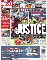 capa Jornal Mirror Sport de 2 julho 2020