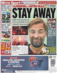 capa Jornal Mirror Sport de 4 julho 2020
