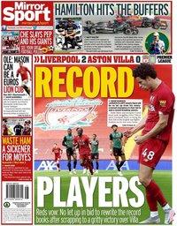 capa Jornal Mirror Sport de 6 julho 2020
