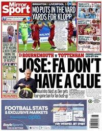 capa Jornal Mirror Sport de 9 julho 2020
