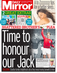 capa Jornal Mirror Sport de 13 julho 2020
