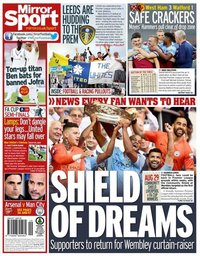 capa Jornal Mirror Sport de 18 julho 2020