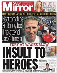 capa Jornal Mirror Sport de 22 julho 2020
