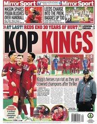 capa Jornal Mirror Sport de 23 julho 2020