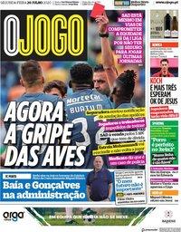 capa Jornal O Jogo de 20 julho 2020