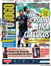 capa Jornal O Jogo de 22 julho 2020
