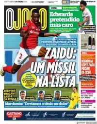 capa Jornal O Jogo de 24 julho 2020