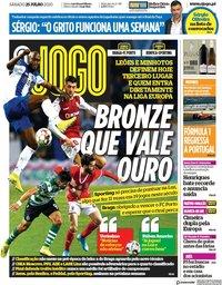 capa Jornal O Jogo de 25 julho 2020
