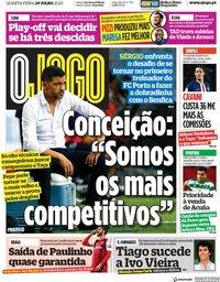 capa Jornal O Jogo de 29 julho 2020