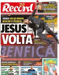capa Jornal Record de 18 julho 2020
