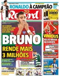 capa Jornal Record de 27 julho 2020