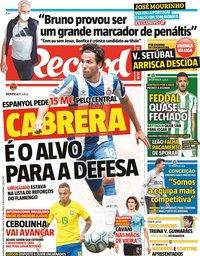 capa Jornal Record de 29 julho 2020