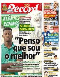 capa Jornal Record de 31 julho 2020