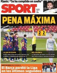 capa Jornal Sport de 1 julho 2020