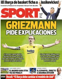capa Jornal Sport de 3 julho 2020