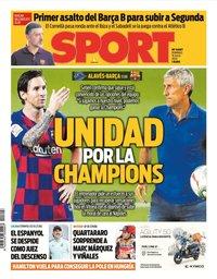 capa Jornal Sport de 19 julho 2020
