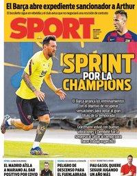 capa Jornal Sport de 29 julho 2020