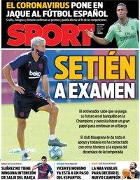 capa Jornal Sport de 30 julho 2020