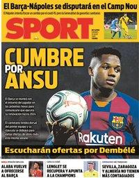 capa Jornal Sport de 31 julho 2020