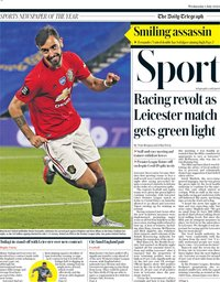 capa Jornal Telegraph Sport de 1 julho 2020