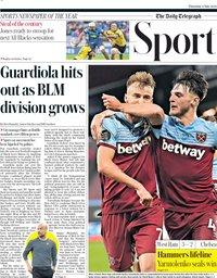capa Jornal Telegraph Sport de 2 julho 2020