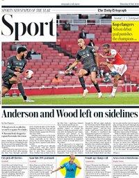 capa Jornal Telegraph Sport de 16 julho 2020