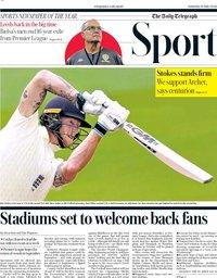 capa Jornal Telegraph Sport de 18 julho 2020