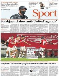 capa Jornal Telegraph Sport de 19 julho 2020