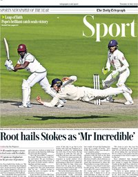 capa Jornal Telegraph Sport de 21 julho 2020