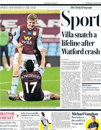 capa Jornal Telegraph Sport de 22 julho 2020