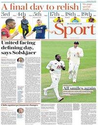 capa Jornal Telegraph Sport de 26 julho 2020