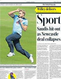 capa Jornal Telegraph Sport de 31 julho 2020