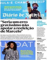 capa Diário de Notícias de 10 agosto 2020