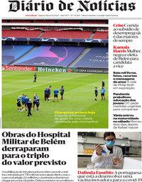 capa Diário de Notícias de 12 agosto 2020