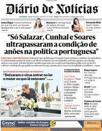 capa Diário de Notícias de 15 agosto 2020