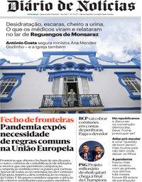 capa Diário de Notícias de 19 agosto 2020