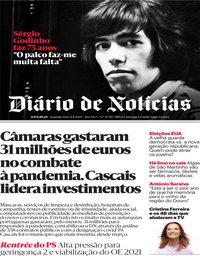 capa Diário de Notícias de 31 agosto 2020