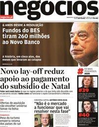 capa Jornal de Negócios de 3 agosto 2020