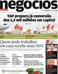 capa Jornal de Negócios de 6 agosto 2020