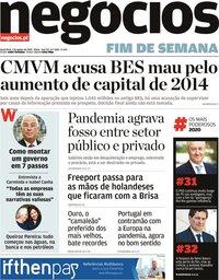 capa Jornal de Negócios de 7 agosto 2020